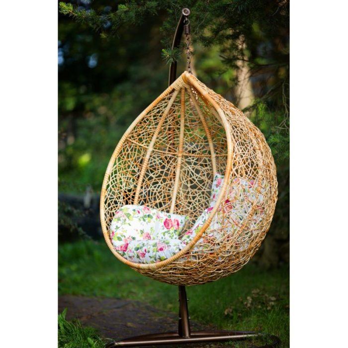Кресло подвесное из натурального ротанга Пэм