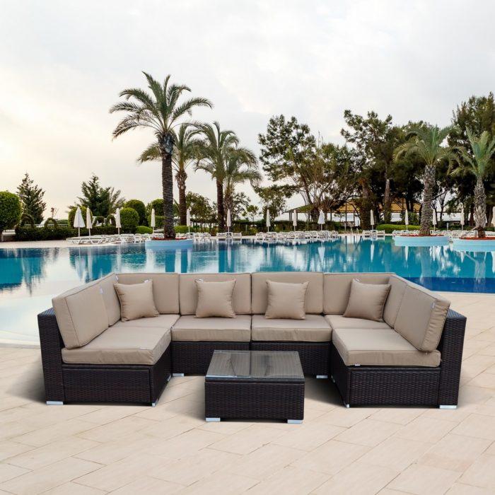 Плетеный модульный диван из искусственного ротанга Браун