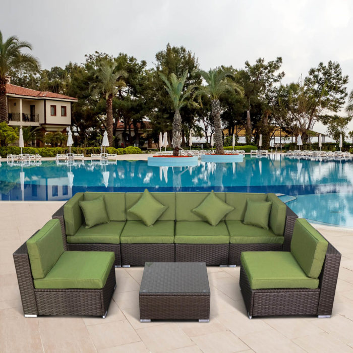 Комплект мебели из иск. ротанга YR822BG Brown/Green