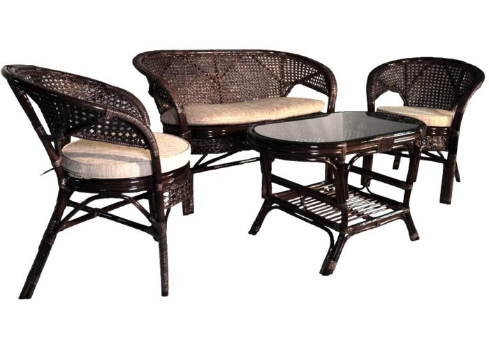 Комплект мебели плетеный из натурального ротанга с 2х местным диваном арт.0215