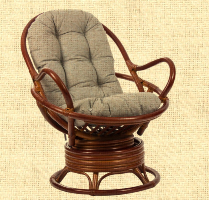 Кресло плетеное из натурального ротанга с механизмом вращения и качания арт.0501