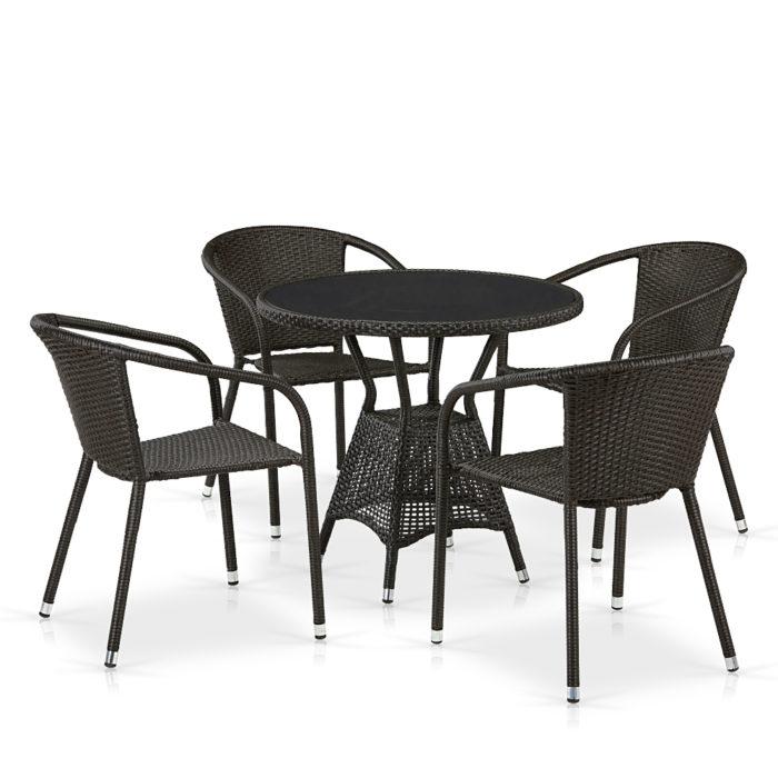 Комплект плетеной мебели из искусственного ротанга T707ANS/Y137C-W53 4Pcs Brown