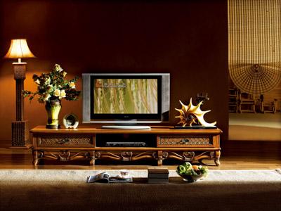 Тумба ТВ из натурального ротанга и массива дерева